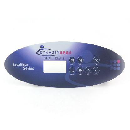 11161: Spa Side Overlay, Dynasty Spas, K-52-DY1, Excaliber Logo, SSPA-MP, 7 Button, LCD