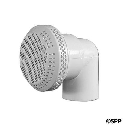 "1755: Suction Assembly, (Bath) G&G, 3-3/4""Diameter w/ 90° Fitting, White"
