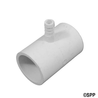 "413-4350: Fitting, PVC, Ribbed Barb Tee, 1""S x 1""S x 3/8""RB"