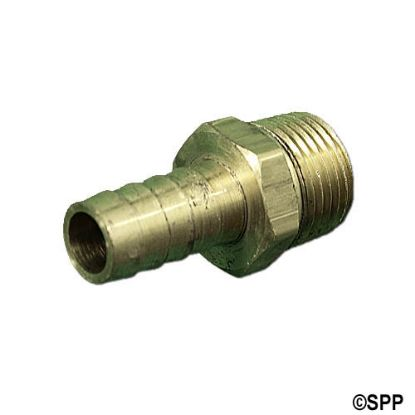 "H48-8-8: Fitting, Brass, Barbed Adapter, 1/2""RB x 1/2""MPT"