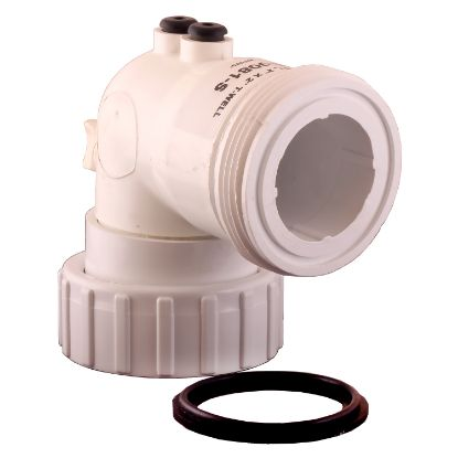 "48-0081-S: Thermowell, HydroQuip, PVC, 90° Ell, 2""MBT x 2""FBT w/Air Bleed"