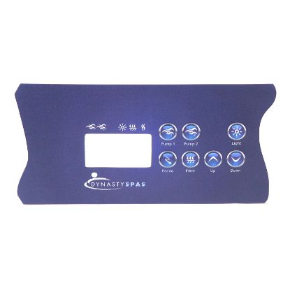 12489: Overlay, Spaside, Dynasty Spas, K-85 (Dynasty Logo) IN.XE, LCD, 7-Button, 2-Pump